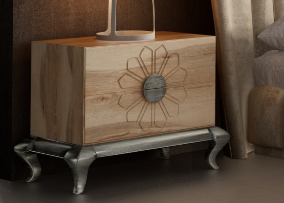 Oak 2 drawers  bedside tables with Chippendale base. Mod. NOEMÍ