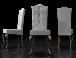 Set of 2 upholstered chairs padded with buttons and lacquered legs. Mod. ISOLA