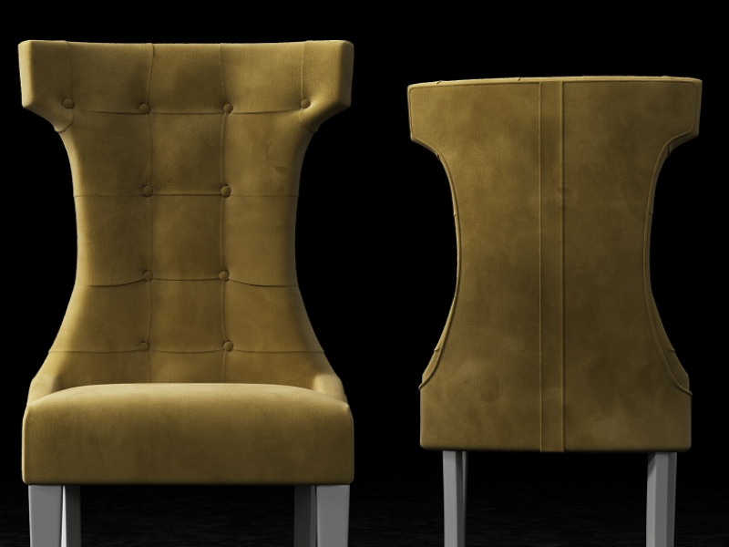 Set of 2 upholstered chairs padded with buttons, nails and lacquered legs. Mod. TOSCANA