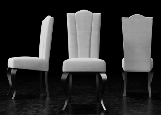 Set of 2 upholstered chairs with lacquered legs. Mod. DANTE