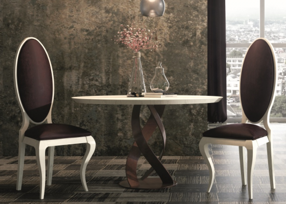 Round dining table with oak wood top and base in lacquered iron. Mod. DOZZA