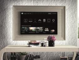 TV stand to hang on the wall with led lighting. Mod. ATRANI