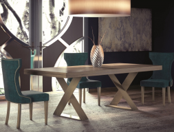 Extendable dining table with wood oak top. Mod. DINANT