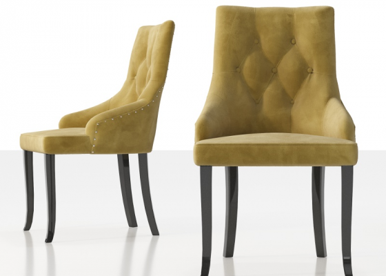 Upholstered chair padded with buttons, nails and lacquered legs. Mod. NOTO