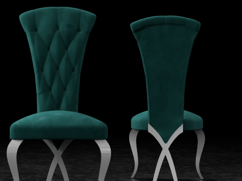 Set of 2 upholstered chairs padded with buttons and lacquered legs. Mod. CAPRI