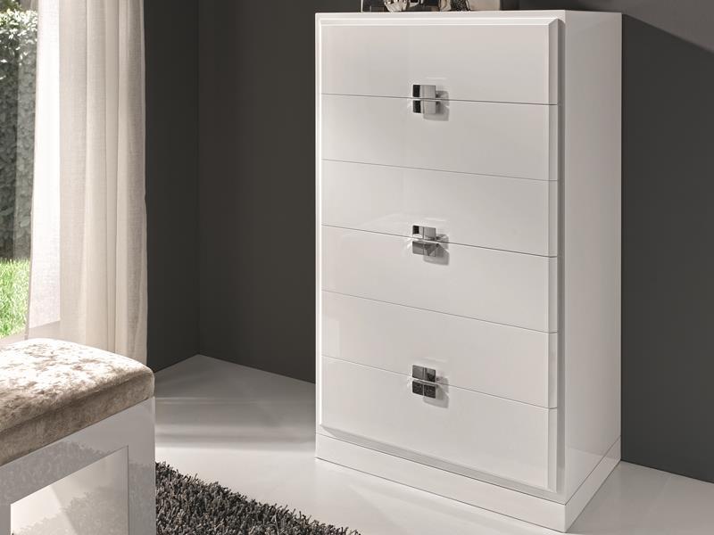 chiffonnier laqu en blanc ou noir fa ades en feuille d. Black Bedroom Furniture Sets. Home Design Ideas