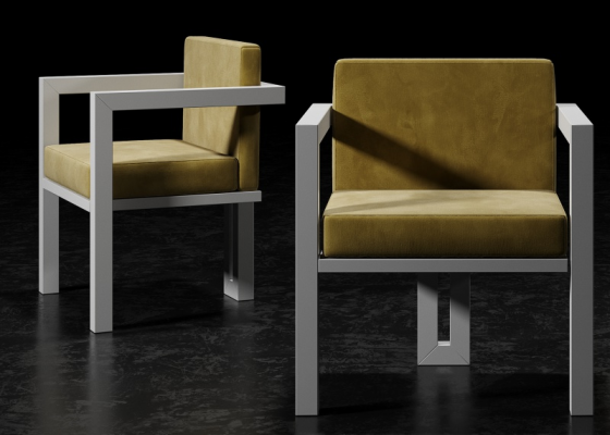 Upholstered chair with lacquered iron structure.Mod: ELITTE