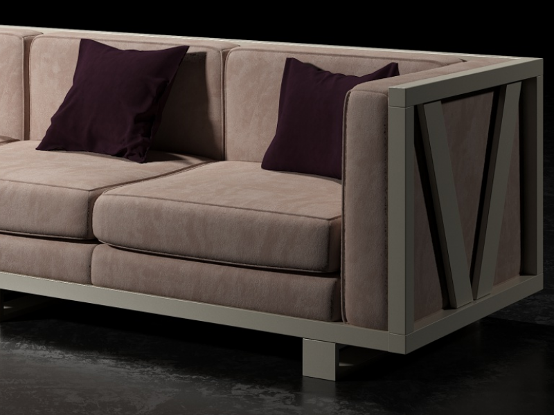Upholstered sofa with lacquered iron frame. Mod. LEORA 3