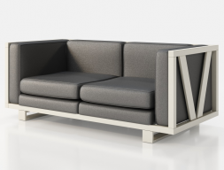 Upholstered sofa with lacquered iron frame. Mod. LEORA 2