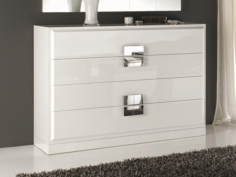 commode avec tiroirs laqu e en blanc ou noir fa ades en feuille d 39 argent ou laqu e mod atenea. Black Bedroom Furniture Sets. Home Design Ideas