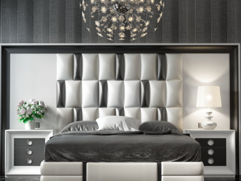 XXL lacquered headboard with upholstered central part  Mod  MELINA