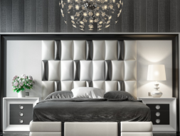 XXL lacquered headboard with upholstered central part. Mod. MELINA