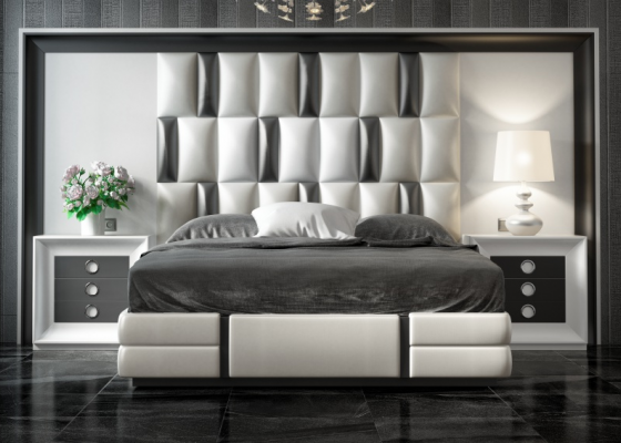Lacquered and upholstered complete bed with XXL headboard. Mod. MELINA