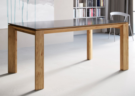 Extensible dining table with wood top,lacquered top, glass top or ceramic top. Mod. MIRO