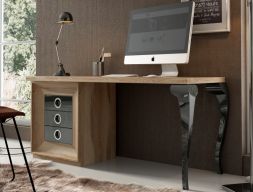Oak wood desk with lacquered legs and 3 drawers. Mod. MELINA