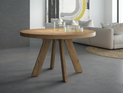 Extensible round  dining table. Mod. ESFERA KNOTTED OAK