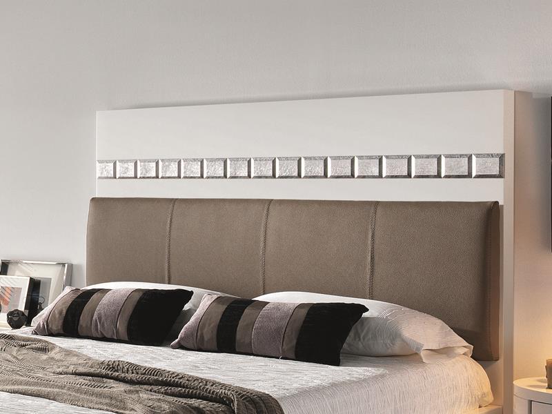 Tête de lit laquée blanc ou noir avec garniture cuir et