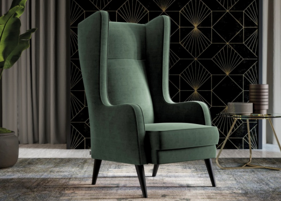Upholstered wing armchair. Mod. GIOVANNI
