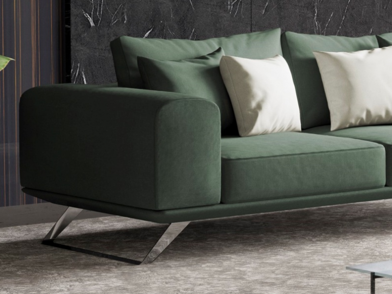 Modern sofa with stainless steel base. Mod. VERONA