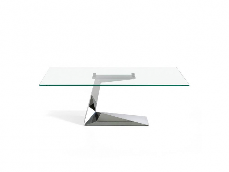 Stainless steel coffee table with glass top.Mod: SARA