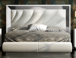 Lacquered and upholstered complete bed. Mod. ZULEMA