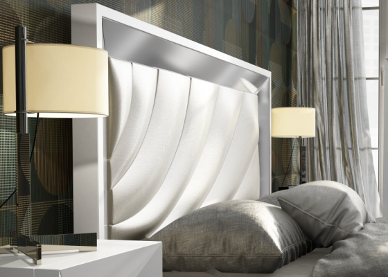 Lacquered headboard with upholstered central part. Mod. ZULEMA