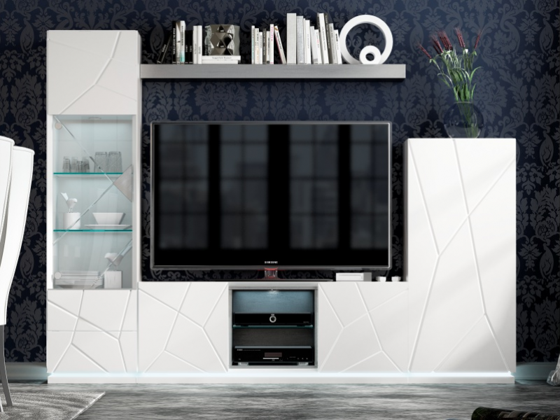 Lacquered modular composition with led light. Mod. NAUGE 01