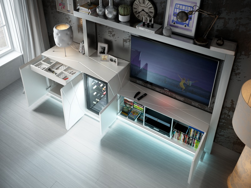 Lacquered modular composition with wine cellar and led light. Mod. NAUGE 02
