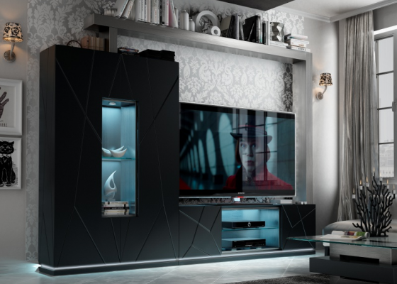 Lacquered modular composition with led light. Mod. NAUGE 03