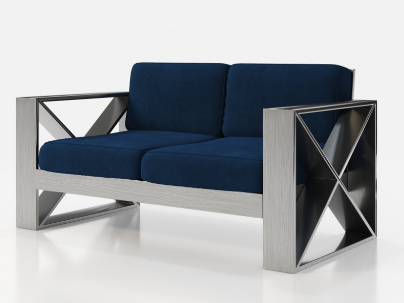 Upholstered sofa with lacquered iron frame. Mod. ELIETTE