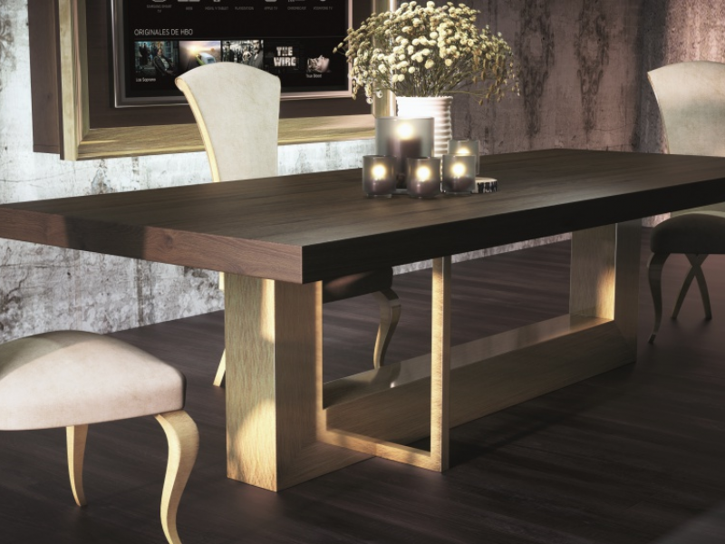 Extendable dining table with wood oak top. Mod. OSTENDE