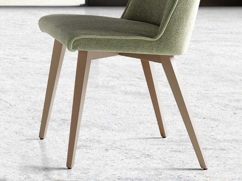 Set of  2 upholstered chairs with wood structure. Mod. WENDY