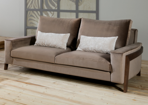 Velvet upholstered sofa. Mod. HELSINKI