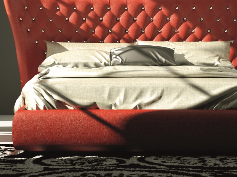 Complete upholstered bed padded with Swarovski buttons. Mod. GOLDA