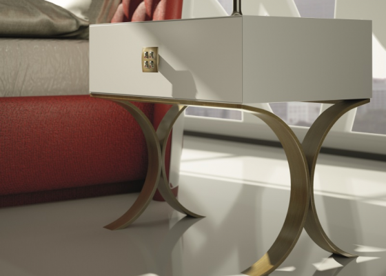One drawer bedside tables with metallic base. Mod. GOLDA