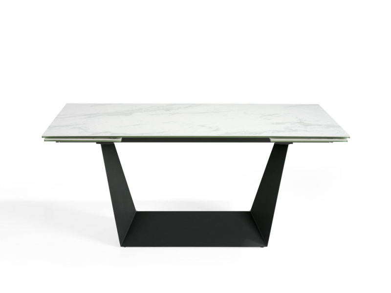 Extensible dining table with ceramic top. Mod. ALMAGRO