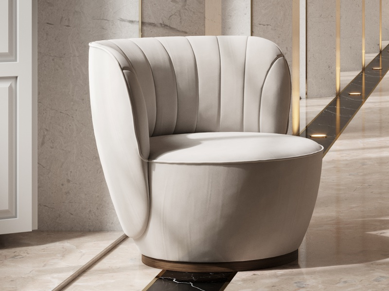 Design upholstered armchair. Mod. NUBE