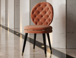 Design upholstered and padded chair. Mod. EVA