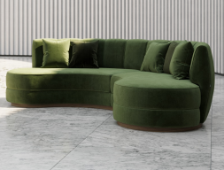 Circular design sofa upholstered in velvet. Mod. DREAM