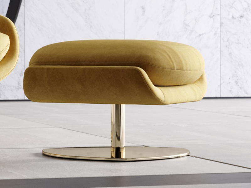 Upholstered pouf with stainless steel base. Mod. TELVA