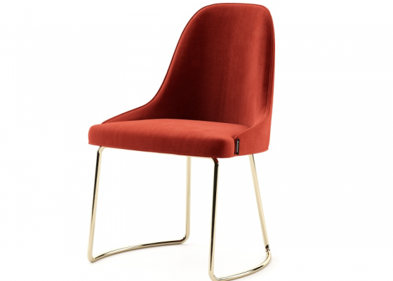 Upholstered design chair with stainless steel structure. Mod. ANNA