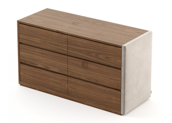Wood and uphosltered  6- drawer dresser. Mod: DORIANNE