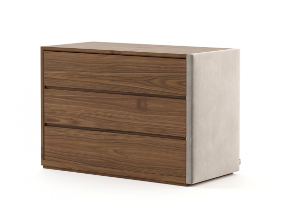 Wood and uphosltered  3- drawer dresser. Mod: DORIANNE