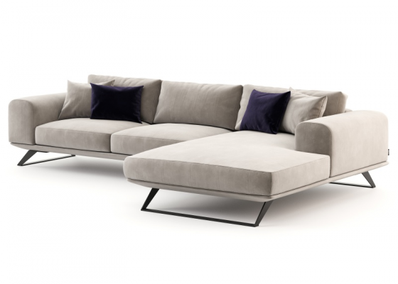 Design sofa with  chaise longue. Mod. VERONA