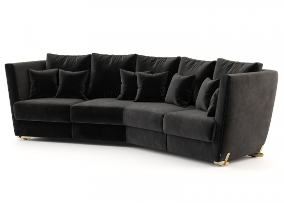 Design sofa with stainless steel legs. Mod. ARYANA 3P