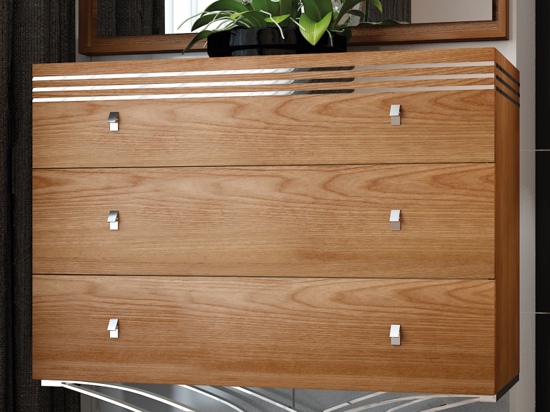 Walnut wood chest of 3 drawers with stainless steel base. Mod. ACIER