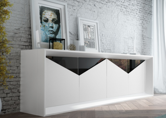 4-door lacquered sideboard with glass details. Mod. ANCONA