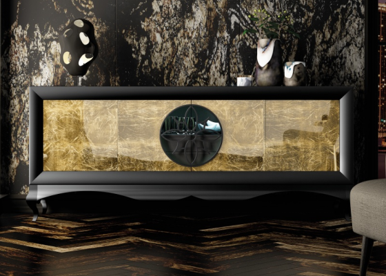 4-door lacquered sideboard with chippendale base. Mod. LUXURY