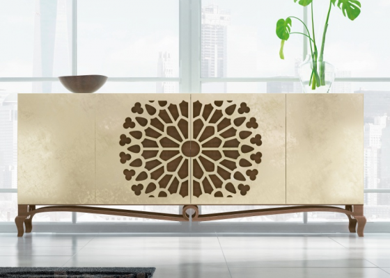 Lacquered sideboard with openworked detail. Mod. LUXE