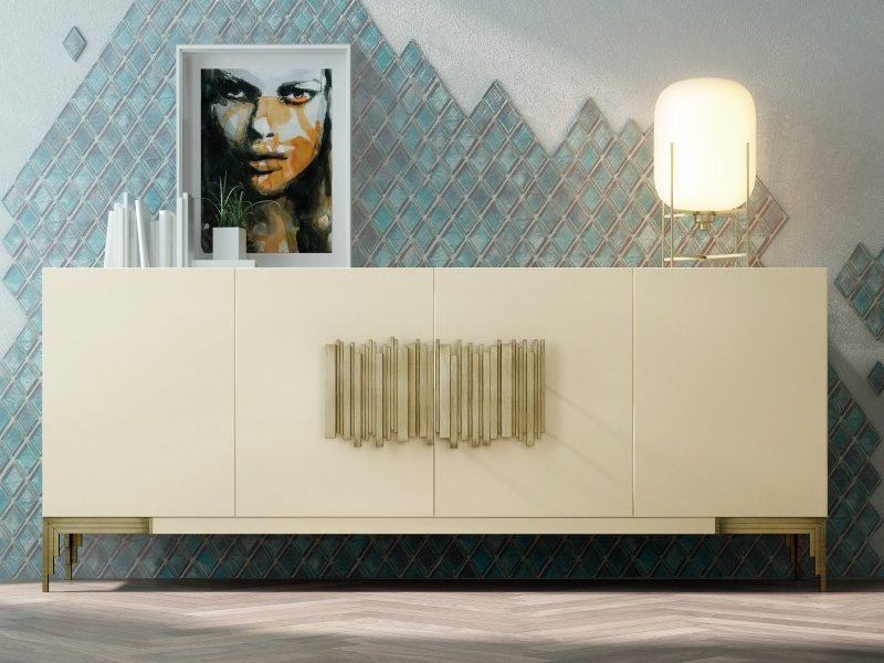 4-door lacquered sideboard with metallic legs. Mod. CATANIA